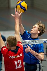 Tom Koops of Sliedrecht in action during the quarter cupfinal between Taurus vs. Sliedrecht Sport on April 02, 2021 in sports hall De Kruisboog, Houten
