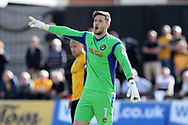 Joe Day, the Newport county goalkeeper looks on. EFL Skybet football league two match, Newport county v Wycombe Wanderers at Rodney Parade in Newport, South Wales on Saturday 9th September 2017.<br /> pic by Andrew Orchard, Andrew Orchard sports photography.
