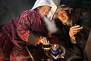 Khaltcha and Abdul Muttalib smoke opium several times a day - like approximately 20% of the Kyrgyz. ?We started smoking when we lost our first child? says Abdul, ?Every year, one of our children would die? - often from diseases easily treatable elsewhere. Only one, a son, survived to age five. Then he, too, passed away. ?We lost 11 children, we are unlucky?. In the Pamir, it is not unusual for parents to lose six or seven children. Most Kyrgyz are extremely unsentimental about death and dying and accept it as an unavoidable part of life. In 2007, Alex Duncan, a British doctor, collected data in the Afghan Pamir and established that child-under-five mortality there was 520 deaths per 1,000 live births (52% mortality), the world's highest rate. Main reasons to this are the intense isolation, the high altitude environment and no access to doctors or health clinics...