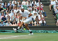 Lawn Tennis - 2021 All England Championships - Men's Final Sunday - Wimbledon Novak Djokovic v <br /> Matteo Berrettini on centre Court<br /> <br /> Matteo Berrettini hot dog's Novak to win the point<br /> <br /> Credit : COLORSPORT / Andrew Cowie
