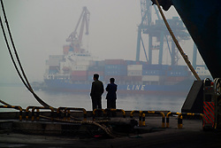 Tianjin, China,exporting, dock workers, Chinese, shipping, port, trucks, export, industrial, shipping containers