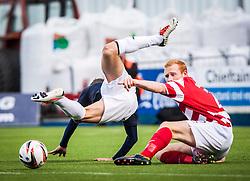 Falkirk's Rory Loy is tackled by Hamilton's Ziggy Gordon.<br /> Falkirk 1 v 2 Hamilton, Scottish Championship 31/8/2013.<br /> ©Michael Schofield.