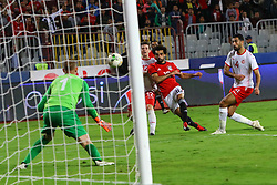 ALEXANDRIA, Nov. 17, 2018  Mohamed Salah (2nd R) of Egypt shoots and scores during the 2019 Africa Cup of Nations qualifier match between Egypt and Tunisia in Alexandria, Egypt, on Nov. 16, 2018. Egypt won 3-2. (Credit Image: © Ahmed Gomaa/Xinhua via ZUMA Wire)