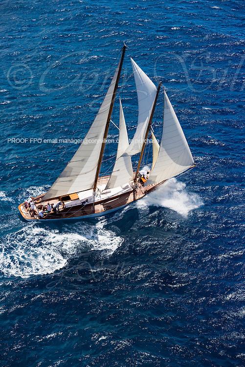 Charm III sailing in the Antigua Classic Yacht Regatta, Windward Race.