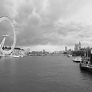 London Eye and Thames - London, UK - Black & White