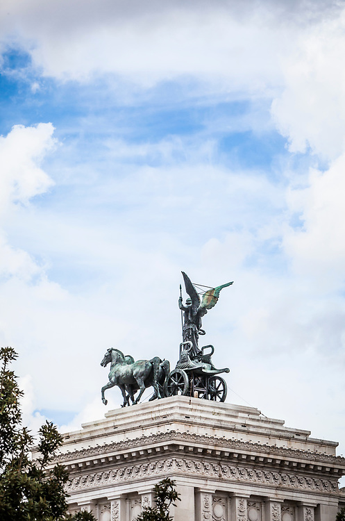 A view of one of the Quadrigas of Unity atop the Victor Emmanuel II Monument in Central Rome, Italy.