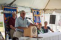St. Johnsbury Town Manager John Hall addresses the crowd during the 70th Anniversary celebration of the Kiwanis Pool in St. Johnsbury Vermont.  Karen Bobotas / for Kiwanis International