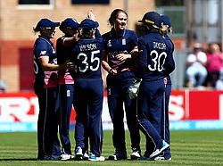 Fran Wilson of England celebrates with teammates after taking the wicket of Nipuni Hansika of Sri Lanka Women - Mandatory by-line: Robbie Stephenson/JMP - 02/07/2017 - CRICKET - County Ground - Taunton, United Kingdom - England Women v Sri Lanka Women - ICC Women's World Cup Group Stage