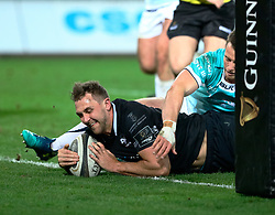 Ospreys' Ashley Beck scores his sides fourth try<br /> <br /> Photographer Simon King/Replay Images<br /> <br /> Guinness PRO14 Round 19 - Ospreys v Connacht - Friday 6th April 2018 - Liberty Stadium - Swansea<br /> <br /> World Copyright © Replay Images . All rights reserved. info@replayimages.co.uk - http://replayimages.co.uk