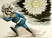 William I Emperor of Germany from 1871 (King of Prussia from 1861) smiling at the rising sun of a united Germany.  French cartoon.