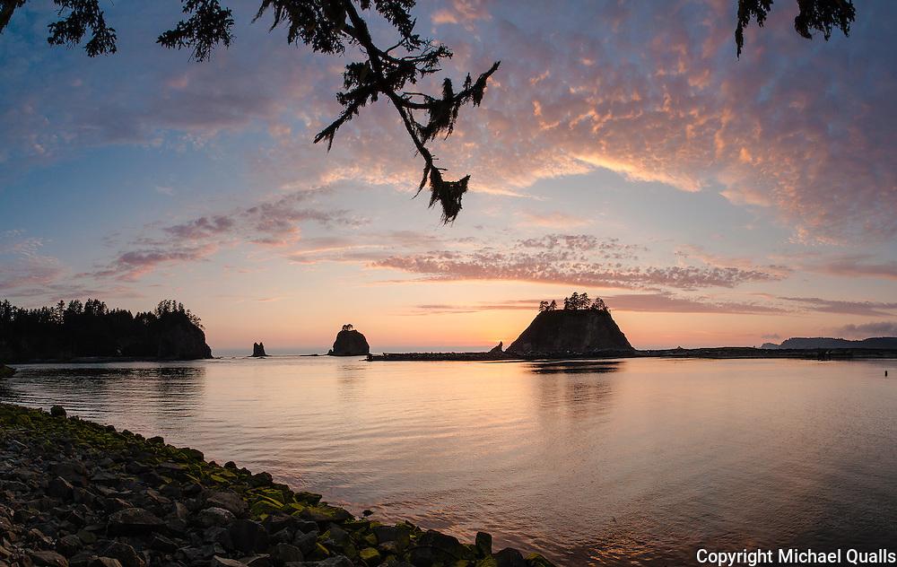 Sunset over Little James Island at La Push, Washington.