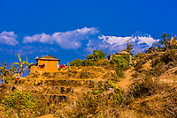 Annapurna III, one of the peaks of the Annapurna Massif of the Himalayas, seen from Thulokot,  a village in the lower Himalayas, near Pokhara, Nepal.