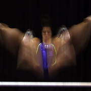 Gymnast Maggie Nichols in action during a final training session before the start of The 2013 P&G Gymnastics Championships, USA Gymnastics' national championships which runs from Thursday until Sunday at the XL, Centre, Hartford, Connecticut.<br /> The event features gymnasts in both the junior and senior divisions. Performances will determine all-around and individual event national champions, as well as the national team for the junior and senior elite levels. Hartford, Connecticut, USA. 14th August 2013. Photo Tim Clayton