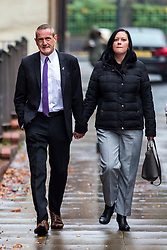 © Licensed to London News Pictures. 21/10/2019. Leeds UK. Dean Walls arrives at Leeds Crown Court this morning. 5 members of Leeds based paedophile hunting group Predator Exposure are appearing at Leeds Crown Court today. Phillip Hoban, Jordan McDonald, Jordan Plain, Dean Walls and Kelly Meadows are all accused of false imprisonment of a man in Chapel Allerton, Leeds. Hoban, 44, McDonald, 18, Plain, 25, and Walls, 51, also denied assaulting same man on same date, Hoban, Meadows,39, and McDonald denied further charge of false imprisonment of another man in Ackton, near Pontefract.Photo credit: Andrew McCaren/LNP