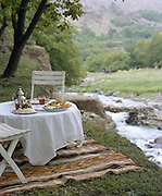 Lunch by the river in Imlil, Morocco