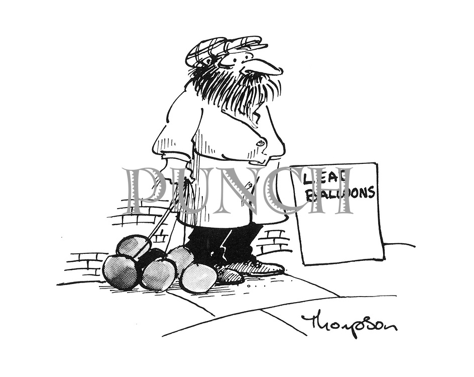 (A vagrant selling lead balloons on a street corner)
