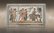 Picture of a Roman mosaics design depicting scenes from the Life of Dionysus, from the ancient Roman city of Thysdrus, House of Silenus. Late 2nd to early 3rd century AD. El Djem Archaeological Museum, El Djem, Tunisia. Against an art background<br /> <br /> In the central panel of this Roman mosaic the  teacher of Dionysus, Silenus, is being carried towards a donkey. .<br /> <br /> If you prefer to buy from our ALAMY PHOTO LIBRARY Collection visit : https://www.alamy.com/portfolio/paul-williams-funkystock/roman-mosaic.html . Type - El Djem - into the LOWER SEARCH WITHIN GALLERY box. Refine search by adding background colour, place, museum etc<br /> <br /> Visit our ROMAN MOSAIC PHOTO COLLECTIONS for more photos to download as wall art prints https://funkystock.photoshelter.com/gallery-collection/Roman-Mosaics-Art-Pictures-Images/C0000LcfNel7FpLI