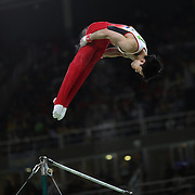 Gymnastics - Olympics: Day 5 Kohei Uchimura #154 of in action during his routine on the Horizontal Bar during the Artistic Gymnastics Men's Individual All-Around Final at the Rio Olympic Arena on August 10, 2016 in Rio de Janeiro, Brazil. (Photo by Tim Clayton/Corbis via Getty Images)