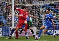 Photo: Tony Oudot/Richard Lane Photography. <br /> Gillingham Town v Carlisle United. Coca-Cola League One. 21/03/2008. <br /> Danny Graham of Carlisle shields the ball from Garry Richards of Gillingham