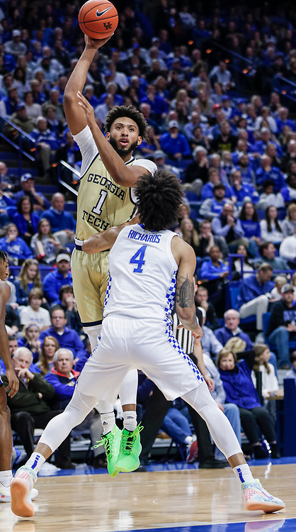 LEXINGTON, KY - DECEMBER 14: James Banks III #1 of the Georgia Tech Yellow Jackets shoots the ball over Nick Richards #4 of the Kentucky Wildcats at Rupp Arena on December 14, 2019 in Lexington, Kentucky. (Photo by Michael Hickey/Getty Images) *** Local Caption *** James Banks III; Nick Richards
