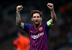 Barcelona's Lionel Messi celebrates scoring his sides third goal during the UEFA Champions League, Group B match at Wembley Stadium, London.