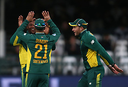 Andile Phehlukwayo of South Africa is congratulated by JP Duminy of South Africa for bowling George Bailey of Australia during the 5th ODI match between South Africa and Australia held at Newlands Stadium in Cape Town, South Africa on the 12th October  2016<br /> <br /> Photo by: Shaun Roy/ RealTime Images
