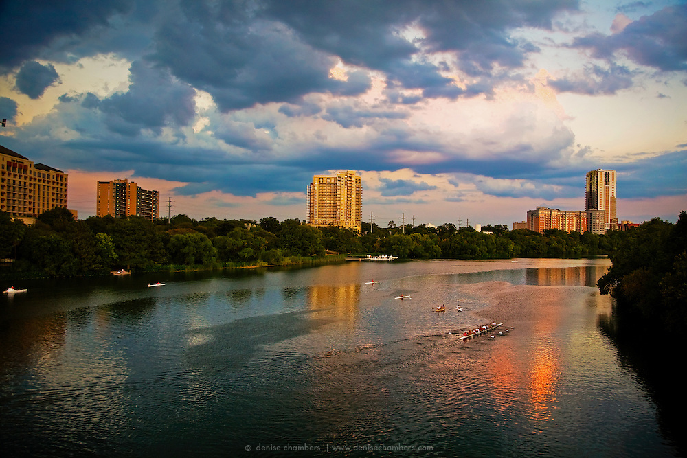 Rowing on Town Lake at sunset in Austin, Texas.
