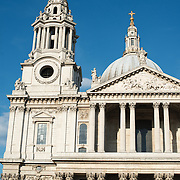 Of the spires of St Paul's Cathedral, one of the most distinctive of London's landmarks. There has been a church on this site since 604 AD. The current building, with it's massive dome, was designed by Christopher Wren and dates back to the late 17th century.