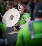2013 June 21 - A cymbal player with Seattle Sounders FC Sound Wave Band performs during Honk! Fest West 2013 in Georgetown, Seattle, WA. By Richard Walker