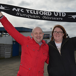 TELFORD COPYRIGHT MIKE SHERIDAN 23/3/2019 - Long distance Telford fans Mark and Charly Murdoch travelled from South Shields for the FA Trophy Semi Final fixture between AFC Telford United and Leyton Orient at the New Bucks Head