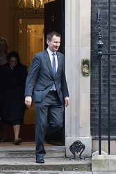 Downing Street, London, February 2nd 2016. Health Secretary Jeremy Hunt leaves No 10 after attending the weekly Cabinet meeting. ///FOR LICENCING CONTACT: paul@pauldaveycreative.co.uk TEL:+44 (0) 7966 016 296 or +44 (0) 20 8969 6875. ©2015 Paul R Davey. All rights reserved.