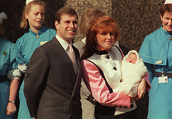 File photo dated 30/03/1990 of the Duke and Duchess of York with their newborn daughter Eugenie outside the Portland Hospital in London. Buckingham Palace has announced that Princess Eugenie has become engaged to Jack Brooksbank.