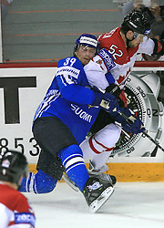 Niko Kapanen of Finland and Mike Green of Canada at ice-hockey game Canada vs Finland at Qualifying round Group F of IIHF WC 2008 in Halifax, on May 12, 2008 in Metro Center, Halifax, Nova Scotia, Canada. Canada won 6:3. (Photo by Vid Ponikvar / Sportal Images)