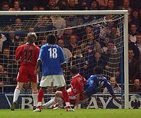 Fotball<br /> England 2004/2005<br /> Foto: SBI/Digitalsport<br /> NORWAY ONLY<br /> <br /> Portsmouth v Middlesborough<br /> 1/2/2005.<br /> Barclays Premiership.<br /> Portsmouth's Yakubu beats  Boro's Frank Queudrue to score.