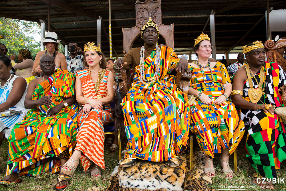King Cephas Bansah and Queen Gabriele Bansah, his brother Hon. Fredolin Kwasi Bansah (left), Dr. Susi Dattenberg-Doyle (Queen Mother of Gbi Kpoeta Ghana) and Togbe Osei III attend the big closing ceremony on the last day of the festival in Notse<br /> <br /> Day 3 of the Agbogboza Festival in Notse, Togo on September 3rd, 2016<br /> <br /> ***Togbe Ngoryifia Cephas Kosi Bansah of Gbi Traditional Area Hohoe Ghana and Traditional, Spiritual and Honorable King of the Ewes and his wife, Queen Mother Gabriele Akosua Bansah Ahado Hohoe Ghana***