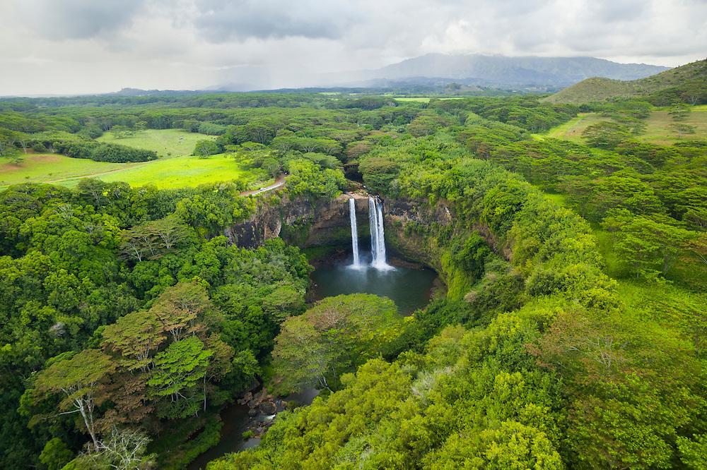 Wailua Falls on the Wailua River, Kauai, Hawaii.