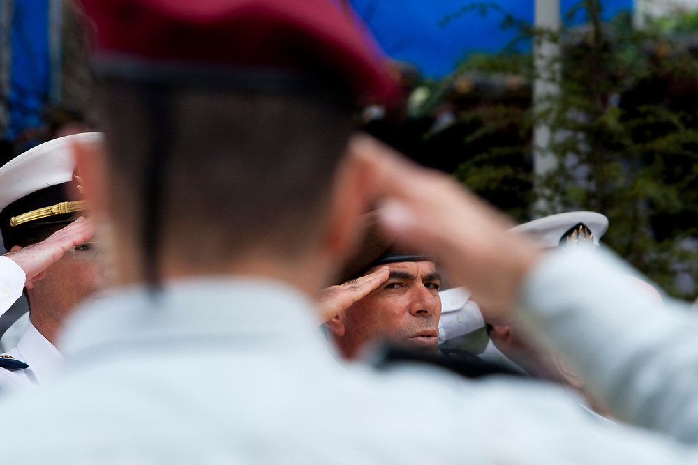 IDF Chief of Staff, Lieutenant-General Gabi Ashkenazi salutes during the annual memorial service for the fallen soldiers of the INS Dakar submarine, held on Mount Herzl Military Cemetery in Jerusalem, January 5, 2010.