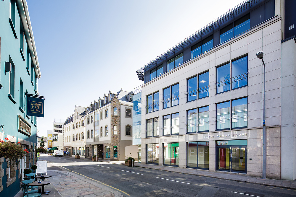Corporate offices and commercial buildings on Seaton Place in St Helier, Jersey, Channel Islands