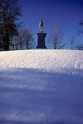 Minuteman Statue At Center Of Town