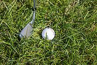 AMSTERDAM -  speler drukt gras plat achter de bal. Golf, regels,    COPYRIGHT KOEN SUYK