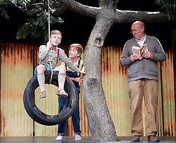 To Kill a Mockingbird <br /> by Harper Lee <br /> at The Barbican Theatre, London, Great Britain <br /> rehearsal <br /> 25th June 2015 <br /> <br /> <br /> Tommy Rodger as Jem<br /> <br /> Connor Brundish as Dill<br /> <br /> Photograph by Elliott Franks <br /> Image licensed to Elliott Franks Photography Services