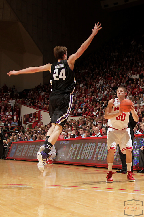 15 February 2012: Indiana Guard Matt Roth (30)  as the Indiana Hoosiers played the Northwestern Wildcats in a college basketball game in Blomington, Ind.