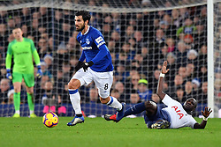 December 23, 2018 - Liverpool, Liverpool, United Kingdom - Everton's Andre Gomes and Tottenham Hotspur's Moussa Sissoko battle for the ball during the Premier League match at Goodison Park, Liverpool, UK.  Everton v Tottenham Hotspur - Premier League - Goodison Park. Goodison Park. (Credit Image: © Anthony Devlin/i-Images via ZUMA Press)