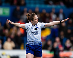 Referee Sara Cox says no try after Italy though they had scored<br /> <br /> Photographer Simon King/Replay Images<br /> <br /> Six Nations Round 1 - Wales Women v Italy Women - Saturday 2nd February 2020 - Cardiff Arms Park - Cardiff<br /> <br /> World Copyright © Replay Images . All rights reserved. info@replayimages.co.uk - http://replayimages.co.uk