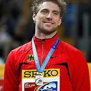 Bjoern Otto of Germany presents his silver medal during the IAAF World Indoor Championships at the Atakoy Athletics Arena, Istanbul, Turkey. Photo by TURKPIX