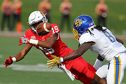 29 October 2016: Anthony Fowler dives for a ball while covered by Anthony Washington.  NCAA FCS Football game between South Dakota State Jackrabbits and Illinois State Redbirds at Hancock Stadium in Normal IL (Photo by Alan Look)