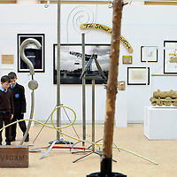 Picture shows: Matthew Sweeney and Adam Willbond (r) of St Fillan's Primary Renfrewshire...GEORGE WYLLIE RETROSPECTIVE: .IN PURSUIT OF THE QUESTION MARK..ARTIST'S LIFE LESS ORDINARY ON SHOW..THE life and work of George Wyllie, MBE, who died in May this year at the age of 90, is the subject of In Pursuit of the Question Mark, which is being curated by his elder daughter, Louise Wyllie...The exhibition is the most comprehensive survey of the internationally renowned Glasgow-born artist's work ever mounted and consists of almost 1000 objects. These range from his earliest drawings made for family when he was serving on HMS Argonaut in The Pacific during the Second World War, to his Cosmic Bunnet, made for his last ever solo exhibition in 2005...Wyllie described himself as a 'scul?tor' because, he said, the question mark should always be at the centre. His ambition as an artist, writer and philosopher was to bring art to the attention of the wider world with an engaging, and often humorous take on his chosen subjects...Some of the artist's earliest sculptural work has also been tracked down. This includes a Bumper Dolphin, made from old car bumpers, dating to the 1960s, and a peacock made from washers and scrap metal...The exhibition also features material which shows the process which led Wyllie to create iconic ephemeral works such as the Straw Locomotive and the Paper Boat...The Whysman Festival received funding from First in a Lifetime/Year of Creative Scotland 2012 to mount this exhibition and project-manage two community based projects; The Big Little Paper Boat Education Initiative which takes in over 90 Clydeside schools and the Big Clyde Question Project involving community groups in Inverclyde...GEORGE WYLLIE RETROSPECTIVE: IN PURSUIT OF THE QUESTION MARK.The Mitchell, North Street, Glasgow, G3 7DN.www.whysman.co.uk.3 November, 2012 - 2 February, 2013.Open Monday-Saturday, 10am-5pm