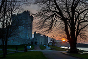 The sun sets at Ross Castle, Killarney, County Kerry, Ireland.<br /> Picture by Don MacMonagle - macmonagle.com