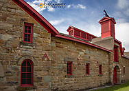 Historic JC Adams Stone barn in Sun River, Montana, USA