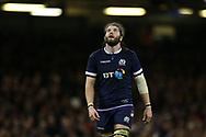 Ben Toolis of Scotland looks on. Wales v Scotland, NatWest 6 nations 2018 championship match at the Principality Stadium in Cardiff , South Wales on Saturday 3rd February 2018.<br /> pic by Andrew Orchard, Andrew Orchard sports photography